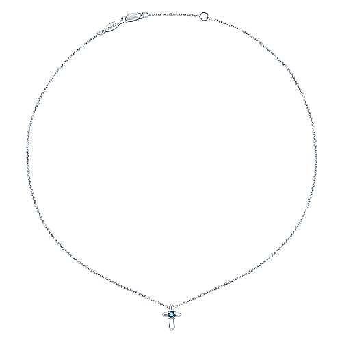 925 Sterling Silver Round Sky Blue Topaz Cross Pendant Necklace