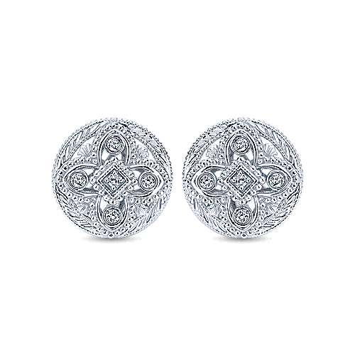 925 Sterling Silver Round Stud Earrings with Diamond Accents
