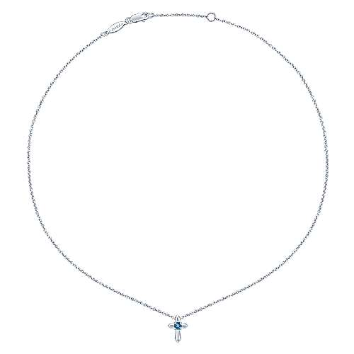 925 Sterling Silver Round Swiss Blue Topaz Cross Necklace