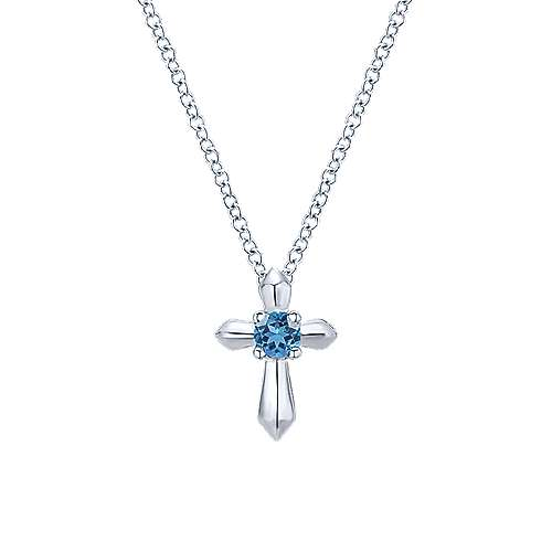 925 Sterling Silver Round Swiss Blue Topaz Cross Pendant Necklace