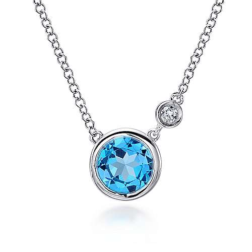 925 Sterling Silver Round Swiss Blue Topaz Fashion Necklace