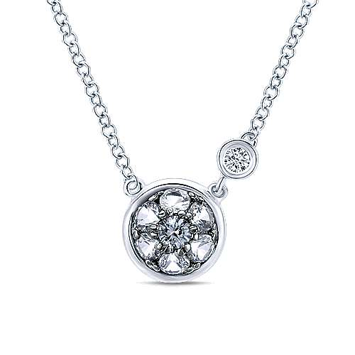 925 Sterling Silver Round White Sapphire Cluster Pendant Necklace with Side Bezel Diamond
