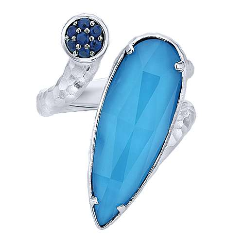 925 Sterling Silver Round and Pear Rock Crystal/Turquoise and Sapphire Ring