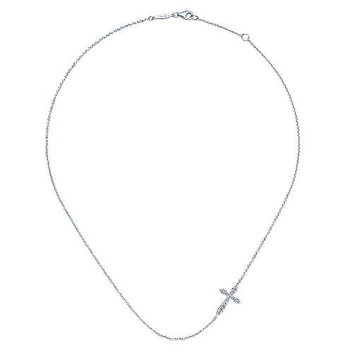 925 Sterling Silver Rounded Sideways Diamond Cross Necklace