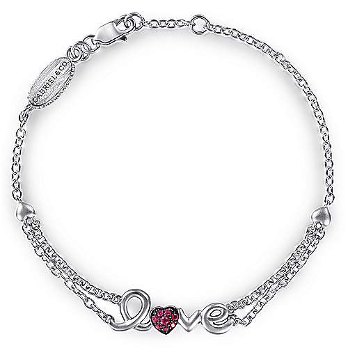 925 Sterling Silver Ruby Bracelet
