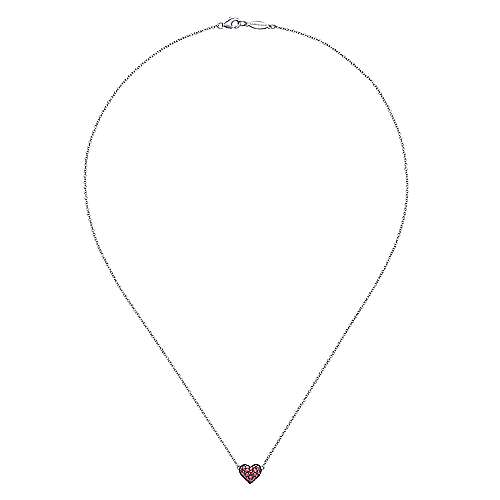 925 Sterling Silver Ruby Heart Necklace