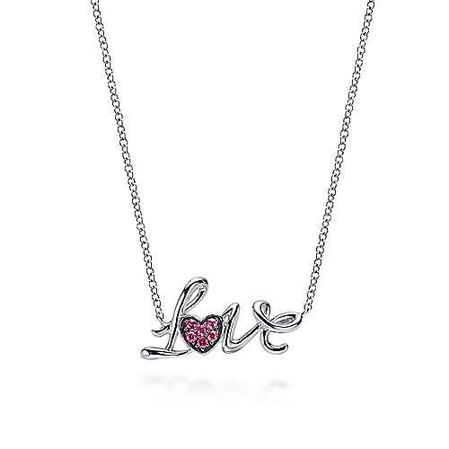925 Sterling Silver Ruby Love Necklace