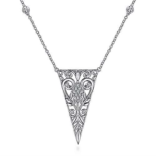 925 Sterling Silver Scrollwork Triangular Vintage Inspired White Sapphire Pendant Necklace