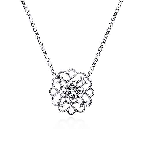925 Sterling Silver Scrollwork Vintage Inspired White Sapphire Necklace