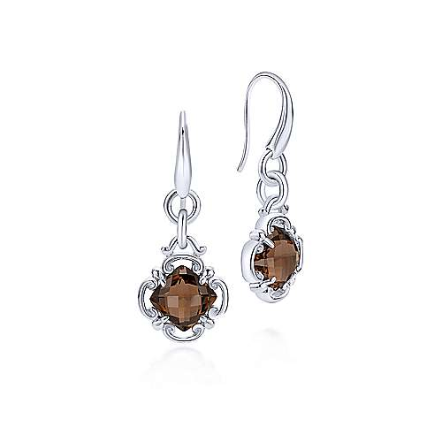 925 Sterling Silver Smoky Quartz Clover Drop Earrings