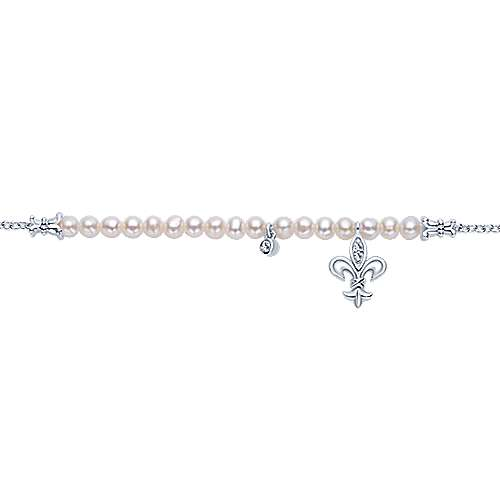 925 Sterling Silver Spiked Pearl and Diamond Bracelet
