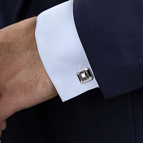 925 Sterling Silver Square Cufflinks with Black Spinel