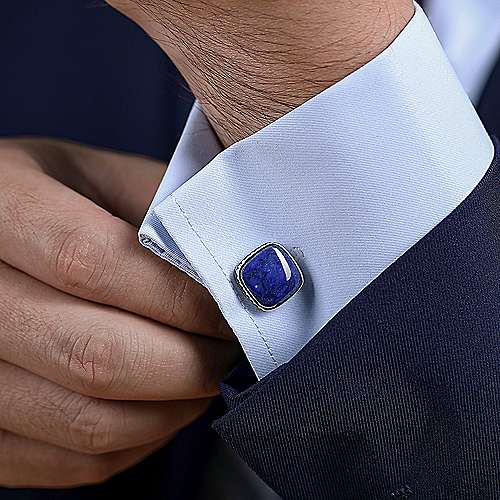 925 Sterling Silver Square Cufflinks with Lapis Stones