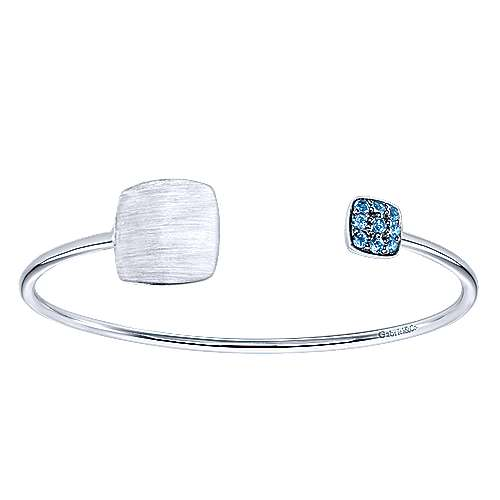 925 Sterling Silver Square and Blue Topaz Pavé Split Bangle
