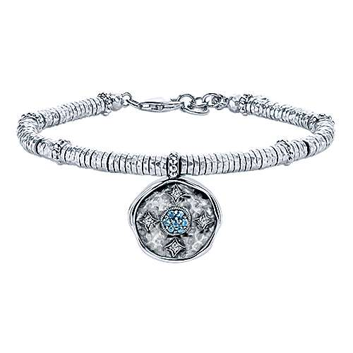 925 Sterling Silver-Stainless Steel Hammered Oxidation Aquamarine and White Sapphire Bracelet