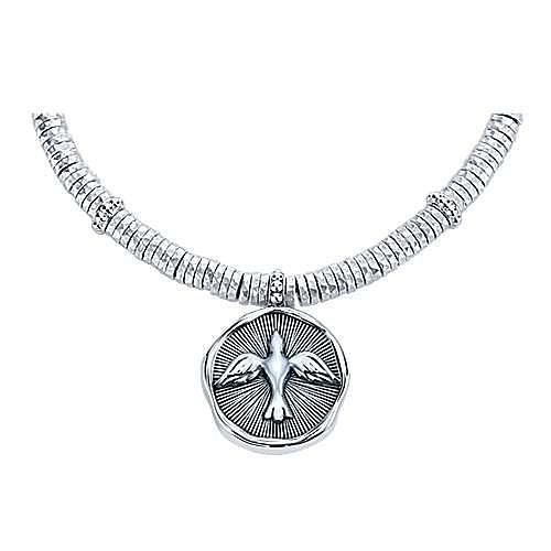 925 Sterling Silver-Stainless Steel Hammered Oxidation Bird Bracelet