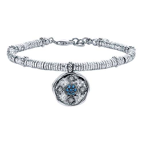 925 Sterling Silver-Stainless Steel Hammered Oxidation Blue Topaz and White Sapphire Bracelet