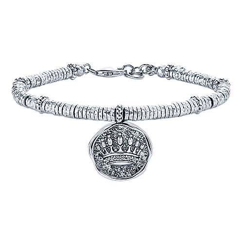 925 Sterling Silver-Stainless Steel Hammered Oxidation Crown White Sapphire Bracelet