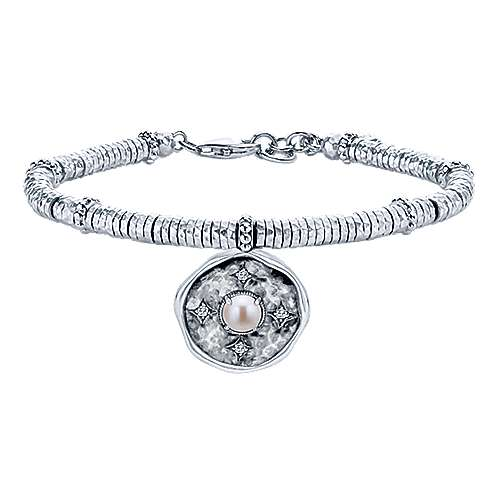 925 Sterling Silver-Stainless Steel Hammered Oxidation Pearl and White Sapphire Bracelet
