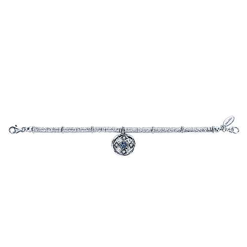 925 Sterling Silver-Stainless Steel Hammered Oxidation Sapphire and White Sapphire Bracelet