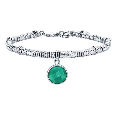 925 Sterling Silver-Stainless Steel Hammered Round Green Onyx Bracelet