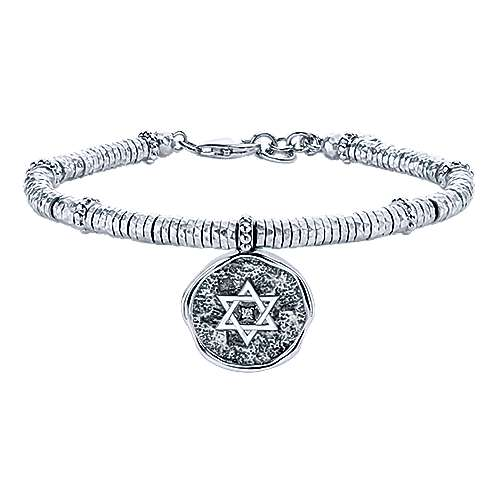 925 Sterling Silver-Stainless Steel Hammered White Sapphire Layered Station Bracelet