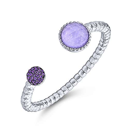 925 Sterling Silver-Stainless Steel Rock Crystal / Purple Jade and Amethyst Pave Cuff  Bangle
