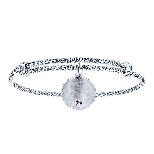 925 Sterling Silver-Stainless Steel Round Charm Pink Zircon Cable Bangle