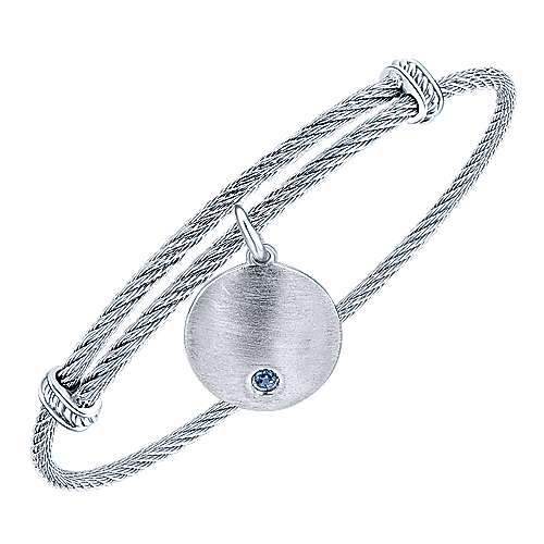 925 Sterling Silver Stainless Steel Round Charm Sapphire Cable Bangle