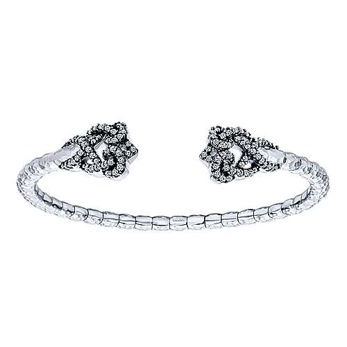 925 Sterling Silver-Stainless Steel Swirling White Sapphire Open Cuff Bangle