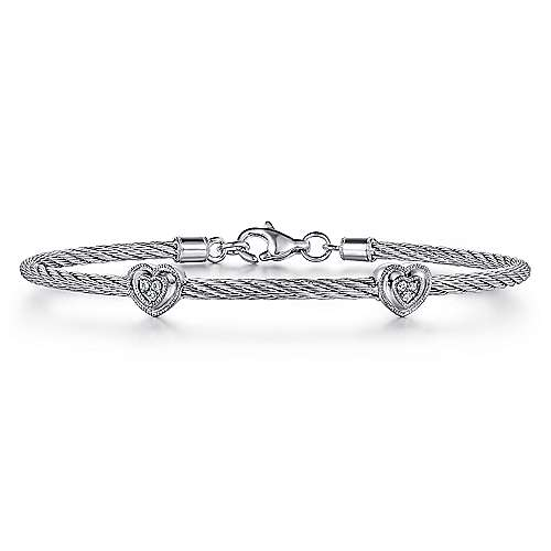 925 Sterling Silver-Stainless Steel Twisted Cable Bangle with 2 Heart Cluster Diamond Stations