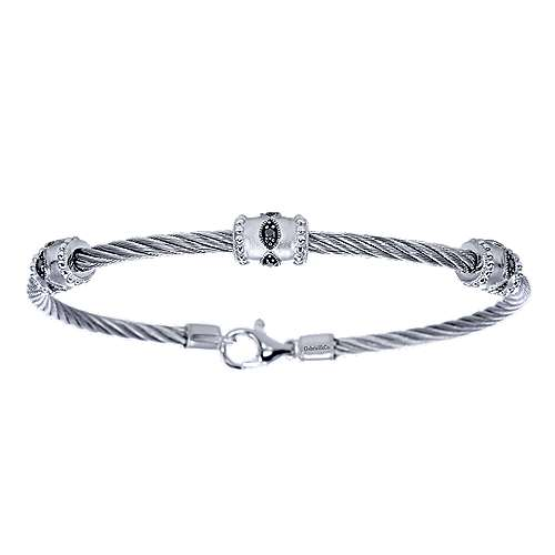 925 Sterling Silver-Stainless Steel Twisted Cable Bangle with 3 Black Diamond Metal Stations