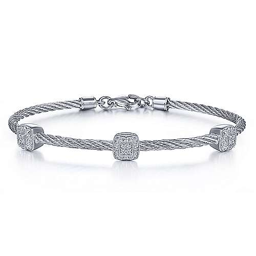 925 Sterling Silver-Stainless Steel Twisted Cable Bangle with 3 Square Cluster Diamond Stations
