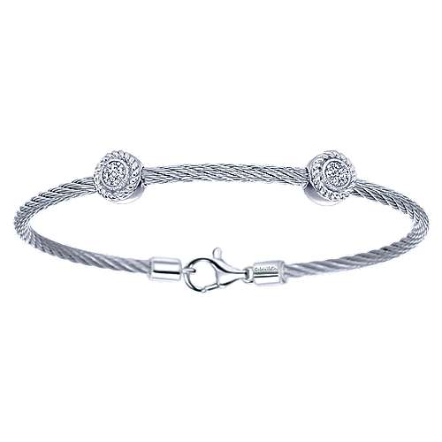 925 Sterling Silver-Stainless Steel Twisted Cable Bracelet with 2 Round Diamond Stations