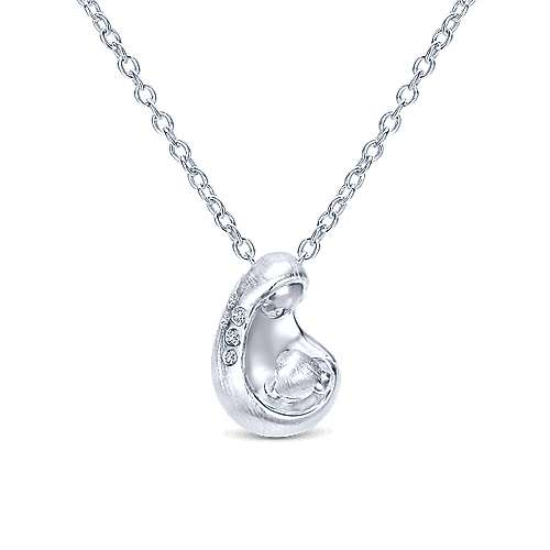 925 Sterling Silver Swirling Diamond Pendant Necklace