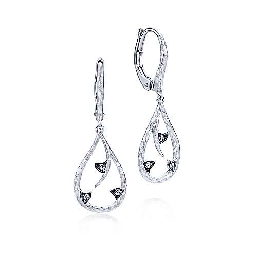 925 Sterling Silver Teardrop Earrings With White Sapphire Accents