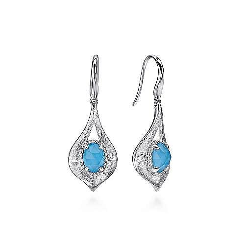 925 Sterling Silver Teardrop Rock Crystal and Turquoise Drop Earrings