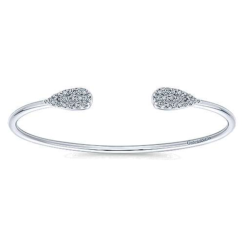925 Sterling Silver Teardrop White Sapphire Pavé Split Bangle