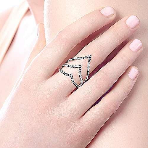 925 Sterling Silver Three Row Diamond V Ring