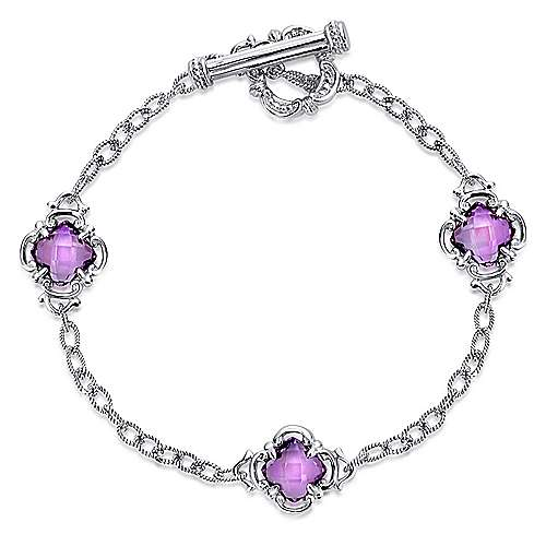 925 Sterling Silver Toggle Bracelet with Amethyst Clover Stations