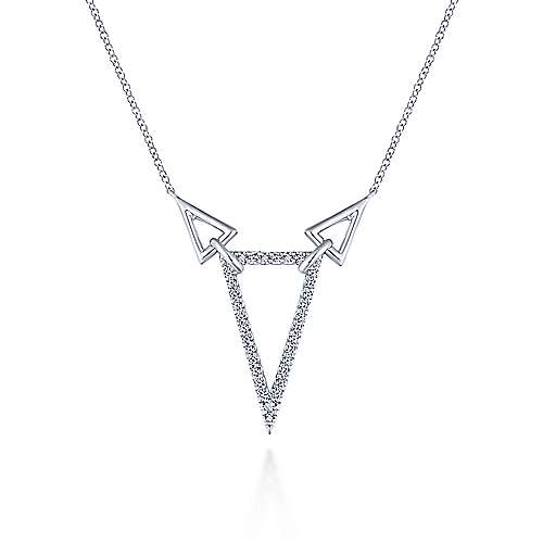 925 Sterling Silver Triangle Necklace with White Sapphire
