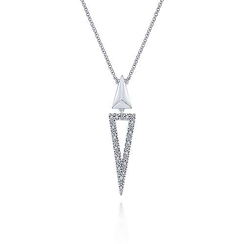925 Sterling Silver Triangle White Sapphire Pendant Necklace