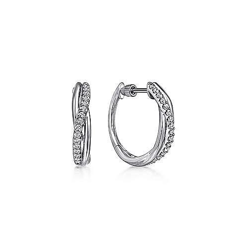 925 Sterling Silver Twisted 15mm White Sapphire Huggie Earrings