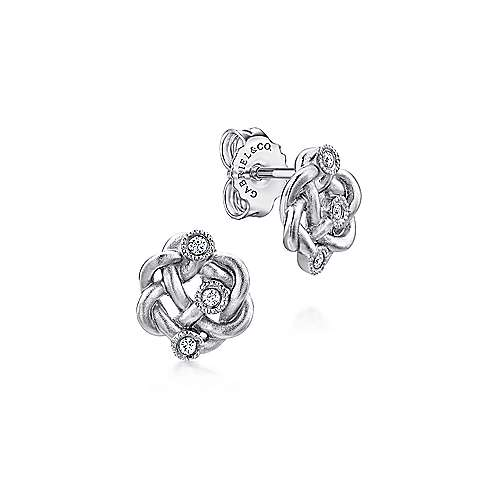Gabriel - 925 Sterling Silver Twisted Knot Diamond Stud Earrings