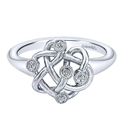 925 Sterling Silver Twisted Ring with Diamond Accents