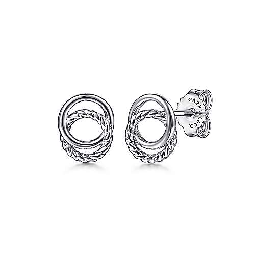 925 Sterling Silver Twisted Rope Double Circle Stud Earrings