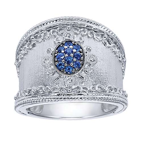 925 Sterling Silver Twisted Sapphire and Diamond Ladies Ring