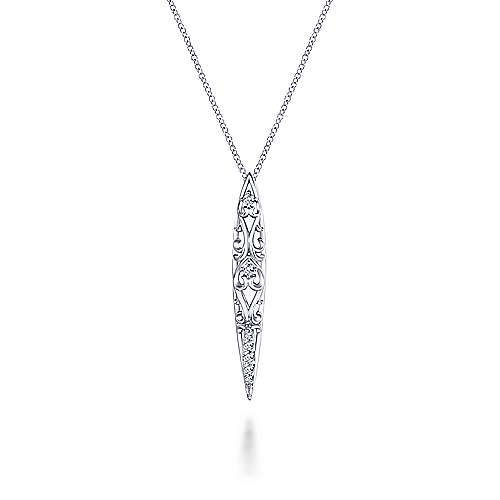 925 Sterling Silver Twisted Spiked White Sapphire Pendant Necklace