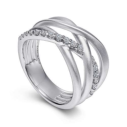 925 Sterling Silver Twisted White Sapphire Ring