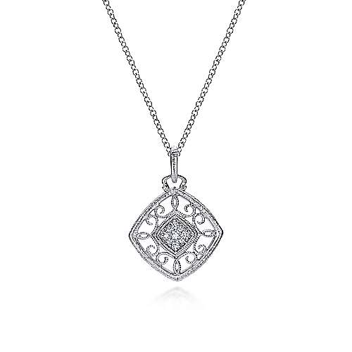Gabriel - 925 Sterling Silver Vintage Inspired Cushion Diamond Necklace